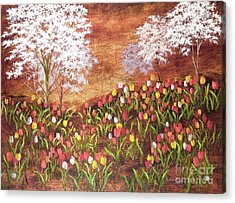Acrylic Print featuring the painting Under The Dogwoods by Vic  Mastis