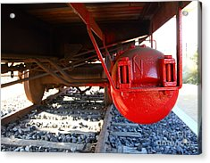 Under The Old Western Pacific Caboose Train . 7d10722 Acrylic Print by Wingsdomain Art and Photography