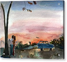 Acrylic Print featuring the painting Under The Setting Sun by Geeta Biswas