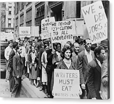 Unemployed New Yorkers Demonstrate Acrylic Print by Everett