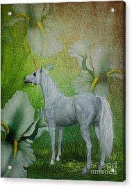 Unicorn And Lilies Acrylic Print by Smilin Eyes  Treasures