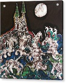 Unicorn In Sea Below Castle Acrylic Print by Carol Law Conklin