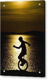 Unicycling Silhouette Acrylic Print by Deddeda