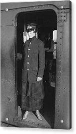 Uniformed Woman Brooklyn Subway Guard Acrylic Print by Everett