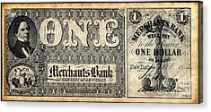Union Banknote, 1862 Acrylic Print by Granger