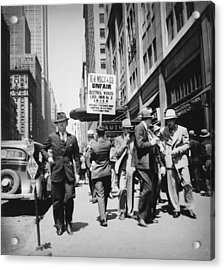 Union Men Picketing Macys Department Acrylic Print by Everett
