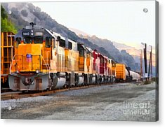 Union Pacific Locomotives Along The Hills Of Martinez California . 7d10563 Acrylic Print by Wingsdomain Art and Photography