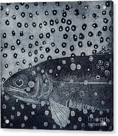 Unique Etching Artwork - Brown Trout  - Trout Waters - Trout Brook - Engraving Acrylic Print