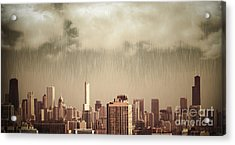 Unique View Of Buildings In Chicago Skyline In The Rain Acrylic Print