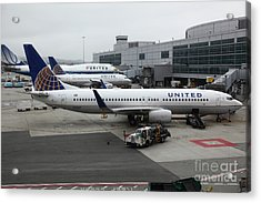United Airlines At Foggy Sfo International Airport . 5d16937 Acrylic Print by Wingsdomain Art and Photography