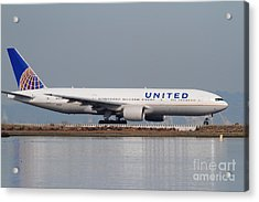 United Airlines Jet Airplane At San Francisco International Airport Sfo . 7d12079 Acrylic Print by Wingsdomain Art and Photography
