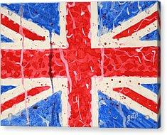 United Kingdom Flag Watercolor Painting Acrylic Print by Georgeta  Blanaru