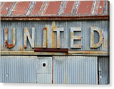 United Rusted Metal Sign Acrylic Print by Nikki Marie Smith