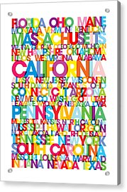 United States Usa Text Bus Blind Acrylic Print