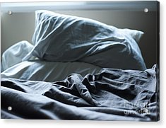 Unmade Bed Acrylic Print by Sam Bloomberg-rissman