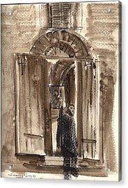 Uno Negozio In Siena Watercolor And Conte Crayon Acrylic Print