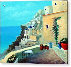 Up High On The Mediterranean Acrylic Print by Larry Cirigliano