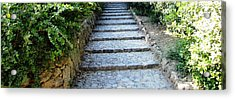 Up Hill Stairs In Parc Guell Barcelona Spain Acrylic Print by John Shiron