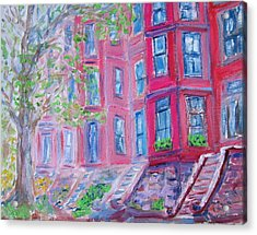 Upper West Side Brownstones Acrylic Print by Kathryn Barry