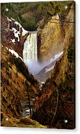 Upper Yellowstone Falls Acrylic Print by Ellen Heaverlo