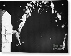 Upside Down Faucet Spraying Water Acrylic Print by Joe Fox