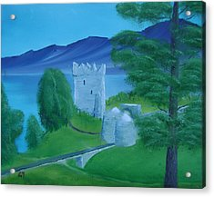 Acrylic Print featuring the painting Urquhart Castle by Charles and Melisa Morrison