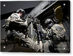U.s. Air Force Crew Strapped Acrylic Print by Terry Moore
