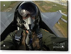 U.s. Air Force Pilot Looking For Nearby Acrylic Print by Stocktrek Images