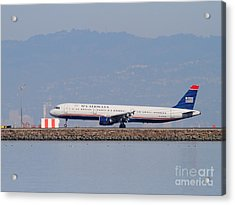 Us Airways Jet Airplane At San Francisco International Airport Sfo . 7d11982 Acrylic Print by Wingsdomain Art and Photography