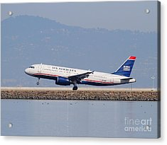 Us Airways Jet Airplane At San Francisco International Airport Sfo . 7d12018 Acrylic Print by Wingsdomain Art and Photography