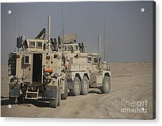 U.s. Army Cougar Mrap Vehicles Acrylic Print by Terry Moore