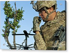 U.s. Army Soldier Calls For Indirect Acrylic Print by Stocktrek Images