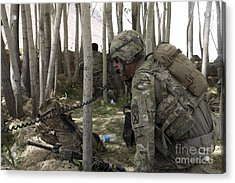 U.s. Army Soldier Communicates Possible Acrylic Print by Stocktrek Images