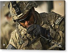 U.s. Army Soldier Communicates Acrylic Print by Stocktrek Images
