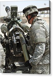 U.s. Army Soldier Loads A 105mm Acrylic Print by Stocktrek Images
