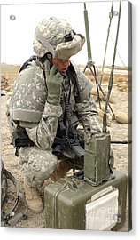 U.s. Army Soldier Performs A Radio Acrylic Print by Stocktrek Images
