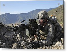 U.s. Army Soldier Provides Overwatch Acrylic Print by Stocktrek Images