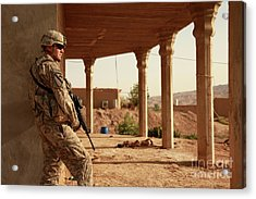 U.s. Army Soldier Pulls Security Acrylic Print by Stocktrek Images