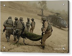U.s. Army Soldiers Medically Evacuate Acrylic Print by Stocktrek Images
