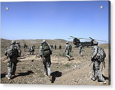 U.s. Army Soldiers Run Back Acrylic Print by Stocktrek Images