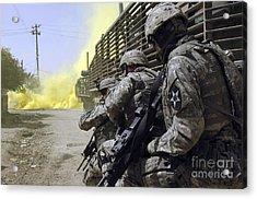 U.s. Army Soldiers Using Smoke Grenades Acrylic Print by Stocktrek Images