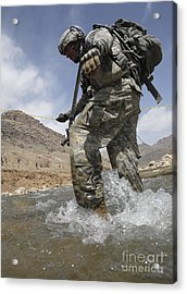 U.s. Army Specialist Crosses A River Acrylic Print by Stocktrek Images
