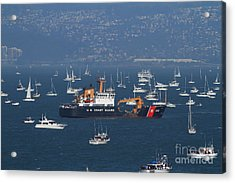 Us Coast Guard Ship Surrounded By Boats In The San Francisco Bay. 7d7895 Acrylic Print by Wingsdomain Art and Photography
