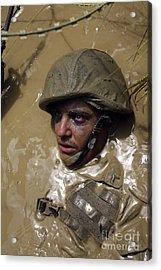 U.s. Marine Advancing Through An Acrylic Print by Stocktrek Images