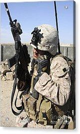 U.s. Marine Communicates With Fellow Acrylic Print by Stocktrek Images
