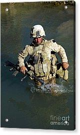 U.s. Marine Crosses A Stream Acrylic Print by Stocktrek Images