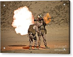 U.s. Marine Fires A Rpg-7 Grenade Acrylic Print by Terry Moore