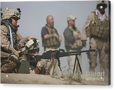 U.s. Marine Firing A Pk 7.62mm Machine Acrylic Print