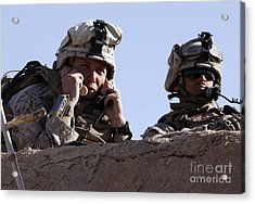 U.s. Marine Gives Directions To Units Acrylic Print by Stocktrek Images
