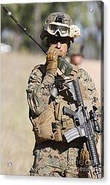 U.s. Marine Radios His Units Movements Acrylic Print by Stocktrek Images